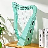 arpa in legno a 15 corde, lira portatile, arpa irlandese, mini arpa, strumento a corde, con leva di accordatura e borsa, adatta per gli amanti della musica, strumenti di intrattenimento,green