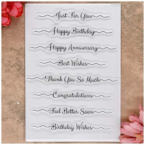 Kwan Crafts Happy Birthday Anniversary Get Well Soon Mothers Day Clear Stamps for Card Making Decoration and DIY Scrapbooking