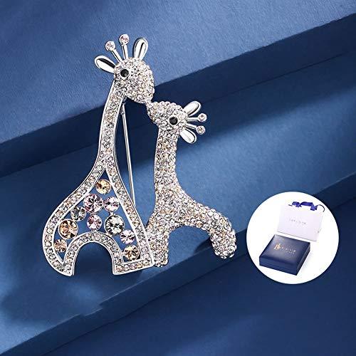 MLSJM Dames Broche Pin, Luxe Romantische Kus Fawn Herten Crystal Brooches, Kostuum Accessoires Badge Pin Naald, Prachtige Geschenken voor Haar