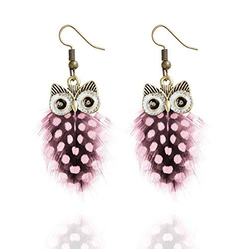 Babysbreath Multi Couche Colour Peacock Feather Owl Shape Fishhook Drop Earrings for Women Rose