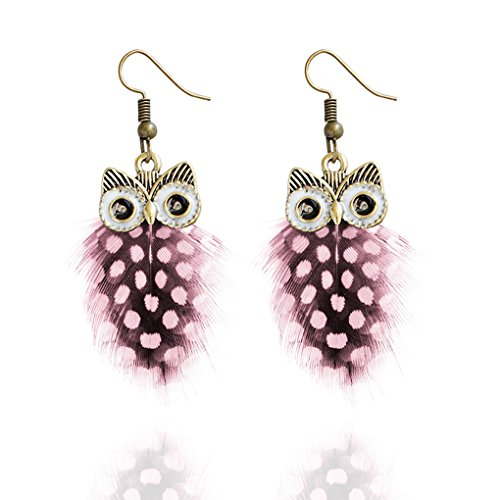 Babysbreath Multi Couche Colour Peacock Feather Owl Shape Fishhook Drop Earrings for Women Rose