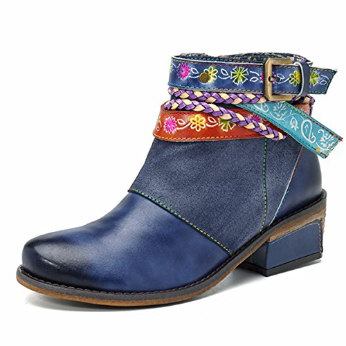 Socofy Ankle Leather Boots,Women's Handmade Splicing Shoes Buckle Strap Block Heel Side Zipper Booties Dark Blue 8 B(M) US