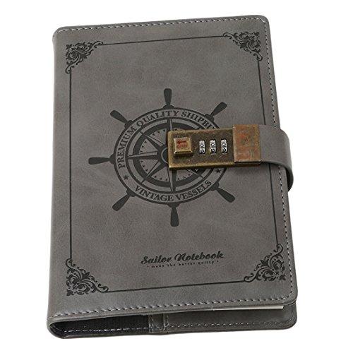 VWH Tagebuch mit Passwort, Spiralnotizbuch, modernes Design, Kunstleder, mit Zahlenschloss, Kartenfächern, Stifthalter (Rauchgrau)