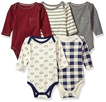 Hudson Baby Baby Cotton Long-Sleeve Bodysuits Burgundy Football 6-9 Months