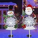 FORUP Solar Christmas Yard Decorations, Outdoor LED Solar Powered Snowflake Xmas Pathway Lights, Metal Garden Stake Lights, Snowman Santa Christmas Lawn Yard Ornament, Set of 2