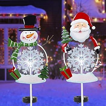 FORUP Solar Christmas Yard Decorations Outdoor LED Solar Powered Snowflake Xmas Pathway Lights Metal Garden Stake Lights Snowman Santa Christmas Lawn Yard Ornament Set of 2
