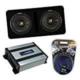 Kicker Bundle Compatible with Universal Vehicles 44DCWC102 Dual 10' CompC Ported Dual Loaded Sub Box Enclosure with HA-A400.1 800 Watt Subwoofer Amplifier and HA-AK8 900W Amp Install Kit