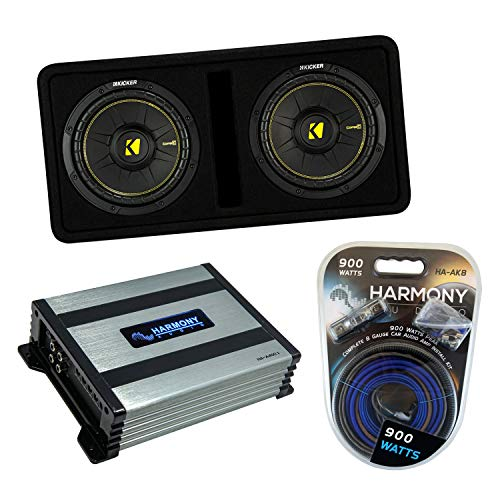 """Kicker Bundle Compatible with Universal Vehicles 44DCWC102 Dual 10"""" CompC Ported Dual Loaded Sub Box Enclosure with HA-A400.1 800 Watt Subwoofer Amplifier and HA-AK8 900W Amp Install Kit"""