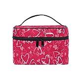 Neceser de maquillaje, diseño de corazones rosas, con bolsa de aseo personalizada con compartimentos para adolescentes,...