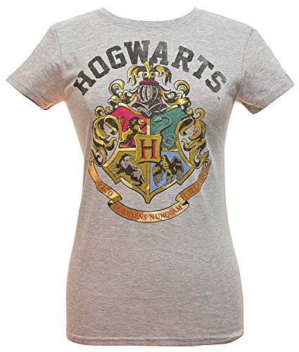 Harry Potter Girls' Distressed Hogwarts School Crest Logo T-Shirt (XX-Large) Grey Distressed Logo Kids T-shirt
