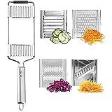 FBSSD SLICE & GO Cortador de verduras, cortador de triturador de acero inoxidable, cortador de rallador, multiusos 4 en 1, cortador de verduras, rallador, pelador, herramienta de cocina ajustable para