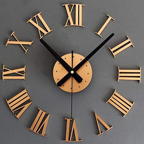 NSYNSY Kit de Reloj Decorativo extraíble con números Romanos, Adhesivo para Espejo 3D, Reloj Grande y Moderno Mudo, Reloj Decorativo sin Marco de Bricolaje Dorado 40x40 cm (16x16 Pulgadas)