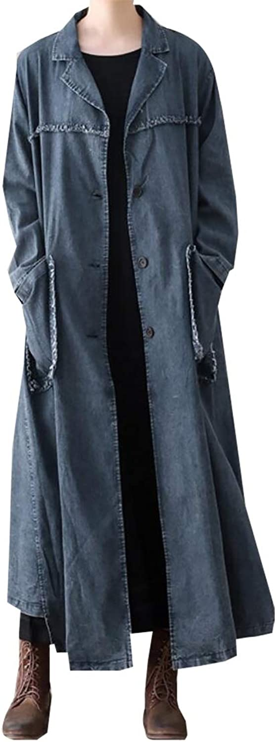 Gocgt Womens Distressed Denim Trench Jacket Casual Plus Size Lapel Hem Jacekt