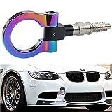 DEWHEL Track Racing Front Rear Bumper Car Accessories Auto Trailer Ring Hook Eye Towing Tow Hook Kits Neo Chrome Screw On for 1 3 5 Series X5 X6 E36 E39 E46 E82 E90 E91 E92 E93 E70 E71 Mini Cooper