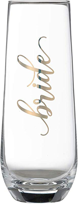 Lillian Rose G116 BR Gold Bride Stemless Champagne Glass Height 5 75 Inches
