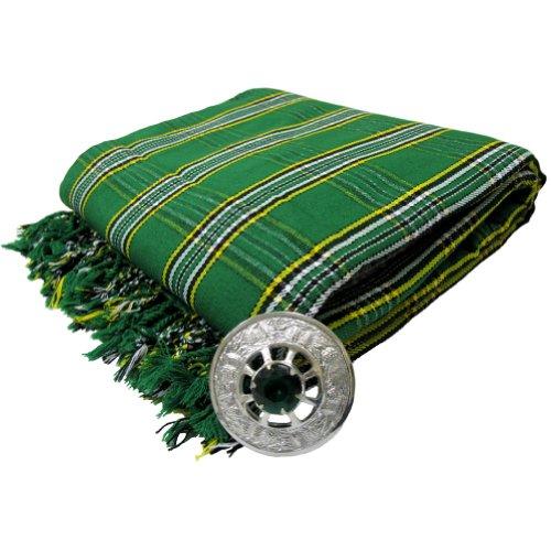 Tartanista - Herren Fly Plaid mit Schmuckstein-Brosche - ideal geeignet für Kilts von Dudelsackspielern - Irish National