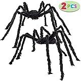 JOYIN 2 Pack 1.52 Meter Halloween Outdoor Dekorationen Haarige Spinne (Schwarz)