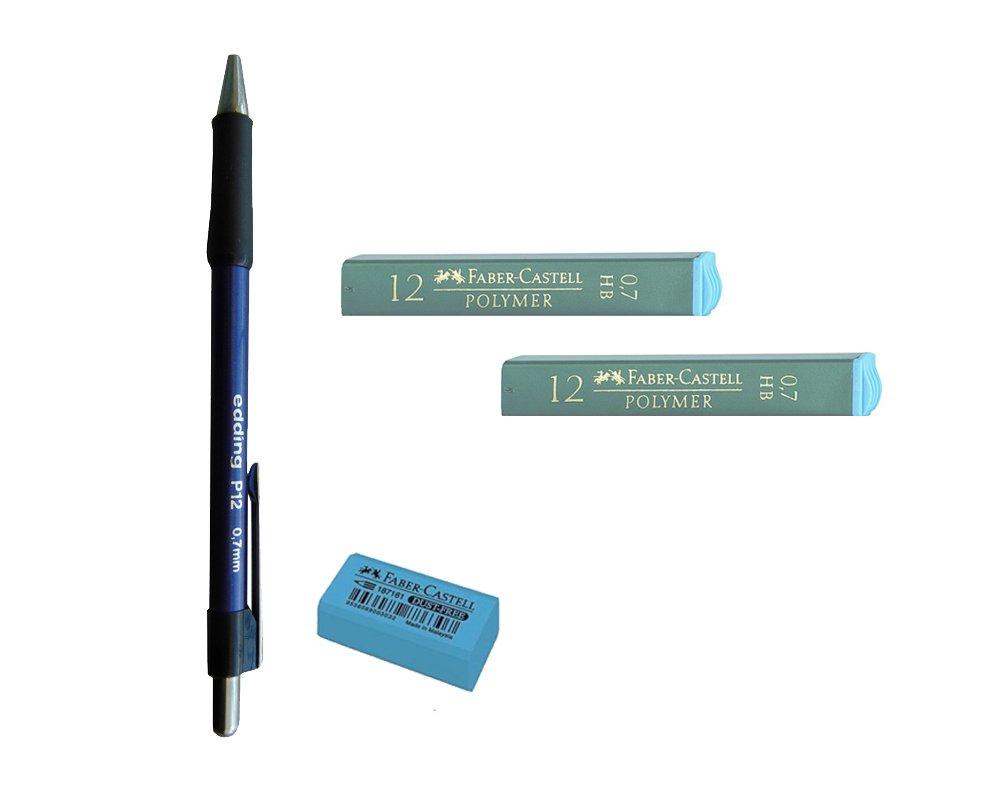 Pack Lote 1 Portaminas Edding P12 con Grip, Mina de 0,7mm + 2 Tubos de