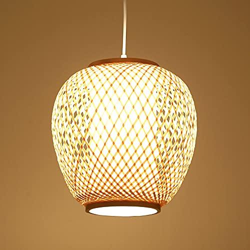 SHUANF Lámpara colgante de linterna de bambú, Araña de estilo retro japonés Iluminación de techo de luz colgante E27 Luminaria para sala de estar, dormitorio, restaurante, cafetería, tetería, bar, com