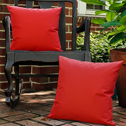 Lewondr Waterproof Outdoor Cushion Cover, 2 Pack Solid PU Coating Throw Pillow Case UV Protection Garden Cushion Cover for Patio Sofa Couch Balcony Christmas Decor 18'x18'(45x45cm) - Red