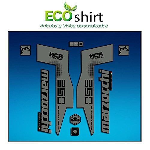 Ecoshirt UG-WYXB-J4JF Stickers Fork Marzocchi 350 NCR Titanium Am76 Autocollants Fourche Gabel Fourche Gris