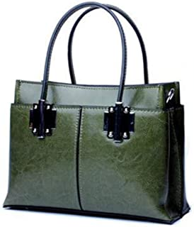 Portable New Trend Casual Fashion Bills Shoulder Slung Small Handbag Leather Bag (Color : Green)