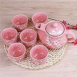 Weingläser Kaffeebecher Geschenk Japanische Kirschblüte Teekannen Set 1 Topf 6 Tassen Keramik Trinkgeschirr Teekanne Home Office Tee Set Wasserkocher