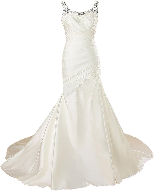 Angel Bride Scoop Neck Ruffles Long Satin Mermaid Wedding Dress Bride Dress