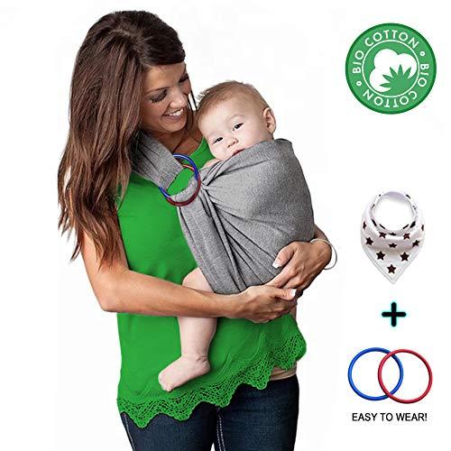 manduca Sling  Elastisches Babytragetuch mit GOTS Zertifikat  f/ür Neugeborene ab Geburt LittleStars slate, 5,10m x 0,60m