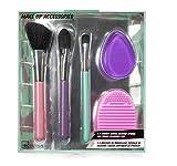 IDC Design set 3 brochas de maquillaje, esponja de silicona y limpiador de pinceles