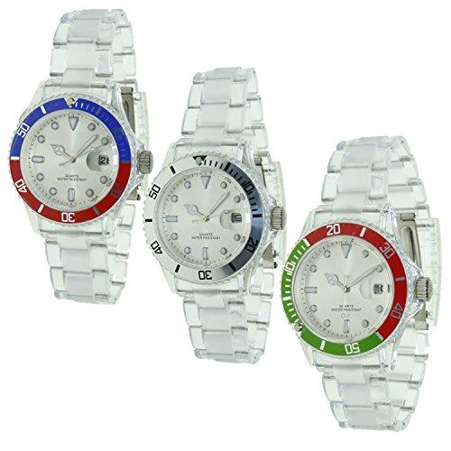Pack 3 relojes Unisex - Christian Gar - Reloj analógico con calendario - Maquinaría PC-32