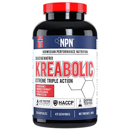 NPN Kreabolic | Triple creatine mix for explosive strength | Muscle strenght and volume enhancer | 45 servings | 270 capsules