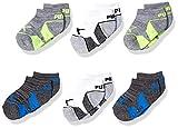 PUMA Toddler Infant Boys' 6 Pack No Show Socks, Gray/Green, 2-4T