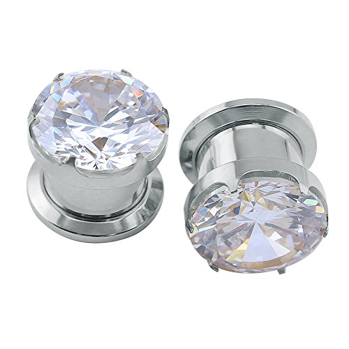 Gorgeous Cubic Zirconia Tunnels Plugs 316L Stainless Steel Screw Tunnels Ear Expander Stretcher Piercing Ear Gauges Black Tunnel Gauges (Silver, 2g(6mm))