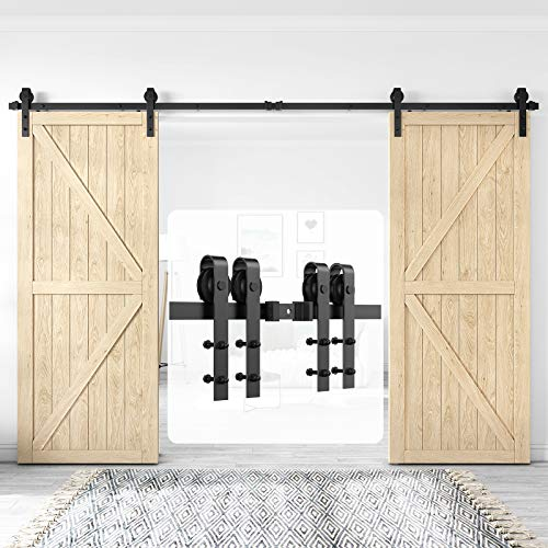 Homlux 12ft Heavy Duty Sturdy Sliding Barn Door Hardware Kit Double Door - Smoothly and Quietly - Simple and Easy to Install - Fit 1 3/8-1 3/4