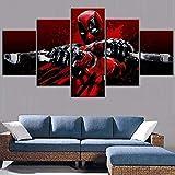 5 piezas de lienzo Cuadro compuesto por 5 lienzos impresos en HD, utilizados para decoración del hogar y carteles Película Deadpool Blood Gun tipo glitch con marco 100x55cm