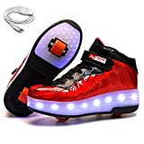 Ehauuo Kids USB Charging LED Light up Shoes with Wheels Retractable Roller Skates