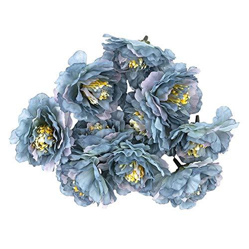 Ideen mit Herz Deko-Blüten, Kunstblumen, Blüten-Köpfe, Verschiedene Sorten, ca. Ø 4-5 cm (Kamelie - blau - 10 Stück)