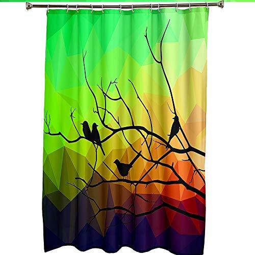 Duschvorhang Gelbgrüner Vogel , Duschvorhang Grün Wasserdicht Anti Schimmel Duschvorhang mit Haken 71