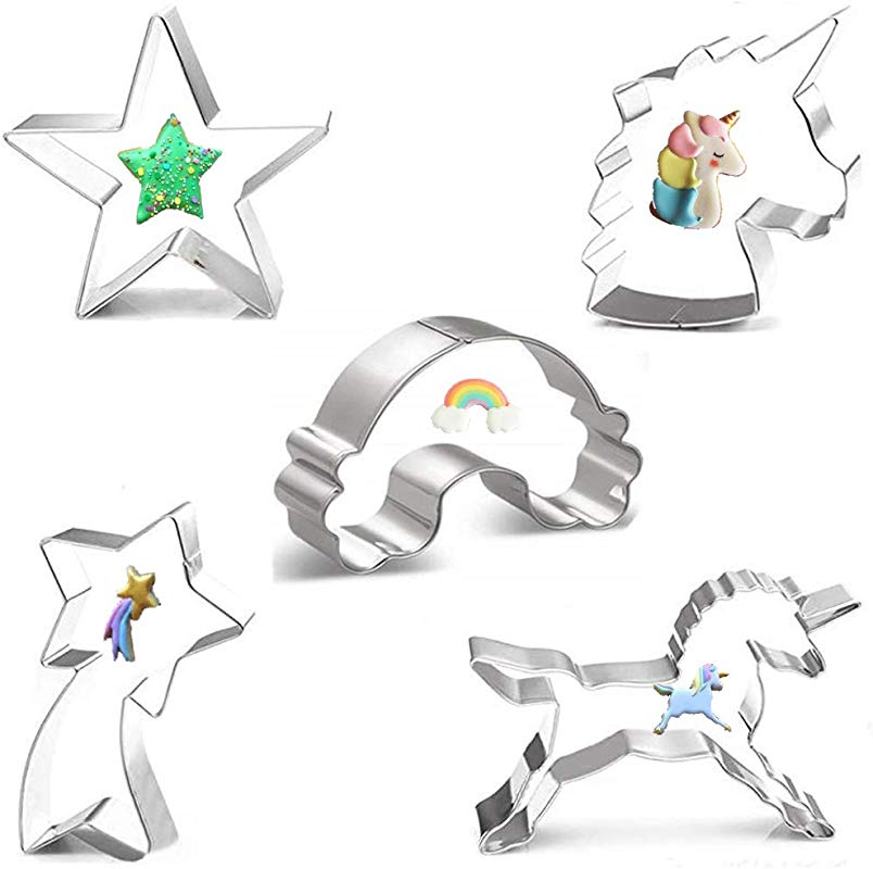 BUSOHA Unicorn Cookie Cutter Set 5pcs Unicorn Unicorn Head Rainbow Shooting Star And Star Large Stainless Steel Fondant Molds For Kid S Kitchen Biscuit Baking Tools Holiday Party Supplies