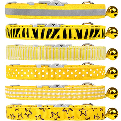 Dynmeow 6 Pack Yellow Mixed Pattern Cat Collar Breakaway with Removable Bell