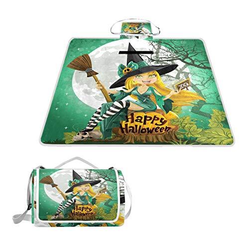 XINGAKA Manta de Picnic ImpermeableAlegre Sonriente nia Disfraz de Halloween en Calabaza Gigante Luna BosqueAlfombra Plegable para Camping Parque
