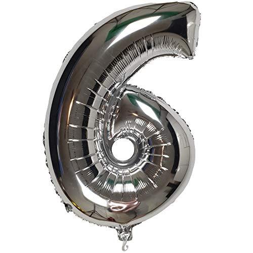 DIWULI, XXL-nummerballonnen, nummer 6, zilveren ballonnen, zilveren nummerballonnen, folieballonnen aantal jaren, folieballonnen 6e verjaardag, bruiloft, feest, decoratie, geschenkdecoratie