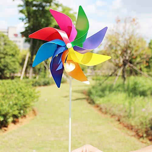 YUEMA 5 Stück Windräder Windspiel mit Standstab schöne Gartendeko in Blumenkübeln und Beeten Spielzeug für Kinder bunt