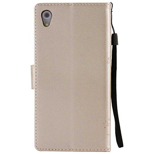 FCLTech Xperia Z5 Hülle, Premium Leder PU Prägung Handyhülle Flip Case, Klapphülle Klappbar Silikon Bumper Schutzhülle für Sony Xperia Z5, Golden
