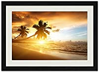 ビーチの夕日、ヤシの木 (N004) 自然風景 壁掛け黒色木製フレーム装飾画 絵画 ポスター 壁画(40x60cm)