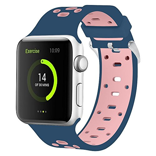 SKYii Replacement for Apple Watch Bands 42mm - Sports Silicone iWatch Wristband Men Women for Apple Series 3 2 1 Blue Pink
