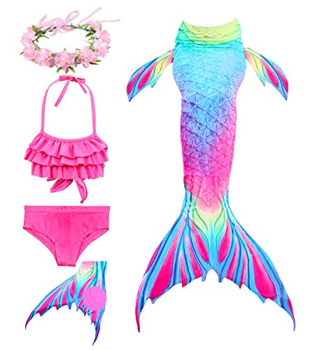 Hifunbay Colas de Sirena para Nadar con Aleta para niñas 5 PCs con monoaleta y Flor Garland Diadema (150, DH52+48-F03-B07)