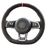 JI Loncky Black Suede Auto Custom Steering Wheel Covers for 2015 2016 2017 2018 Volkswagen Jetta GLI VW / 2015 2016 2017 VW Golf R / 2015-2018 VW Golf 7 MK7 GTI Interior Accessories Parts