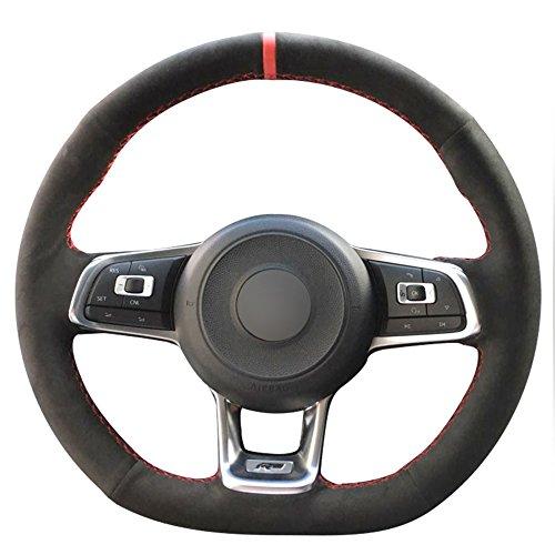 Loncky Auto Custom Fit OEM Black Genuine Leather Suede Steering Wheel Covers for Volkswagen Jetta GLI 2015-2020 / VW Golf R 2015-2019 / VW Golf 7 MK7 Golf GTI 2015-2021 Accessories